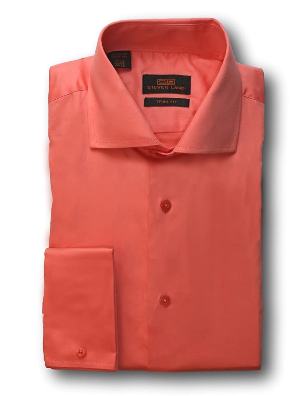 Steven Land Solid Sateen Dress Shirt 100 Cotton Ta214 Salmon Style