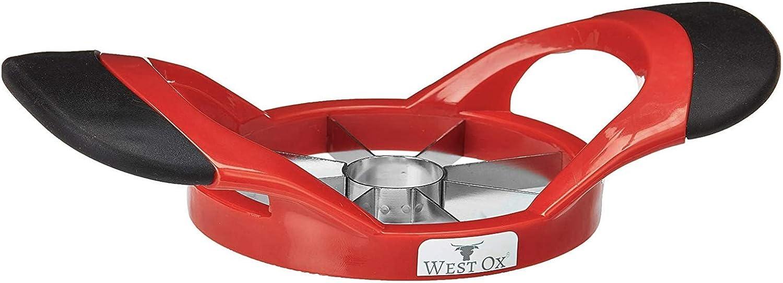 West Ox Apple Slicer, Corer and Divider | 8 Premium Stainless Steel Sharp Blades, Non-Slip Silicon Ergonomic Handles & BPA Free Plastic Body, Sturdy Design (3.5'' Diameter)