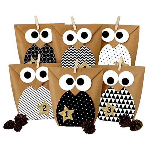 Papierdrachen DIY Advent Calendar - Christmas Owls Black and White – Advent Calendar for Making and Filling
