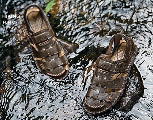 HAPPYSHOP TM Men's Genuine Leather Baotou Anti-Collision Anti-Collision Anti-Collision Sandals Flip-Flops Beach Summer Slides Shoes 41 M EU|Coffee B071HM2CB6 d41a6c