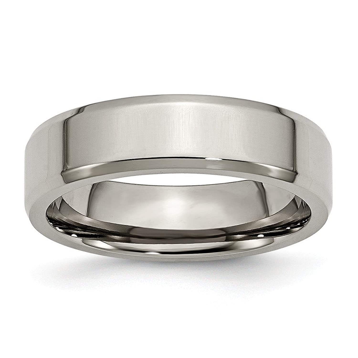 Titanium Beveled Edge 6mm Polished Band, Size 10