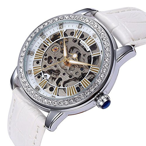 YISUYA Women Rhinestone Skeleton Watches Stainless Steel Steampunk Automatic Self-wind Mechanical Wristwatch With White Leather Strap For Ladies With Top Quality Gift Box (Womens Skeleton Automatic Watch)