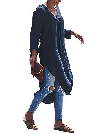 52aac588b858d BMJL Women's Asymmetric Cut Out Cold Shoulder Long Sleeve Tops Longline  Shirt Elegant High Low Hem
