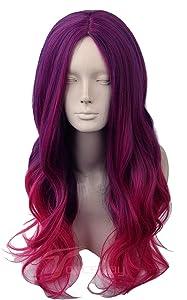 Topcosplay Women's Wig Long Deep Wave Cosplay Halloween Costume Wigs Purple Red Gradient Ombre Middle Bangs