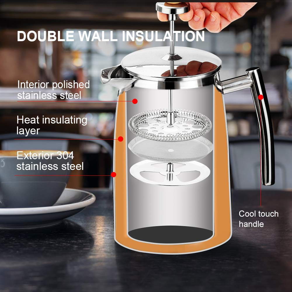 50-Ounce Extra Stainless Steel Screen Stainless Steel 18//10 SFP-50DSC Secura 1500ML French Press Coffee Maker