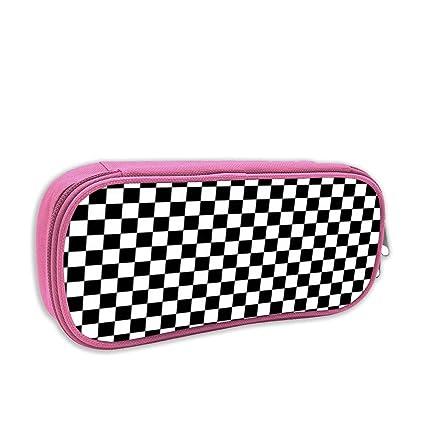 Black Checkered Pencil Case Big Capacity Pencil Bag Makeup