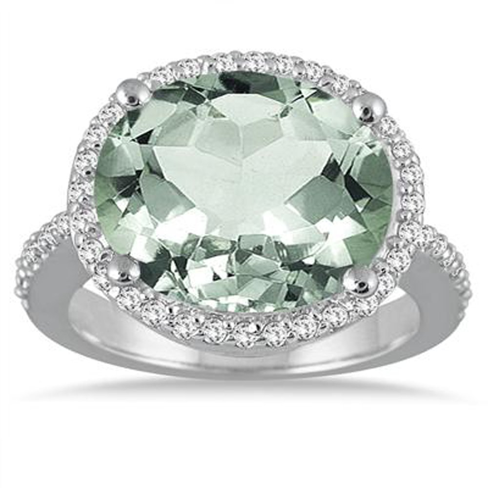 Smjewels 8 Carat oval Green Amethys & Simulated Diamond Ring In 14K White Gold Plated