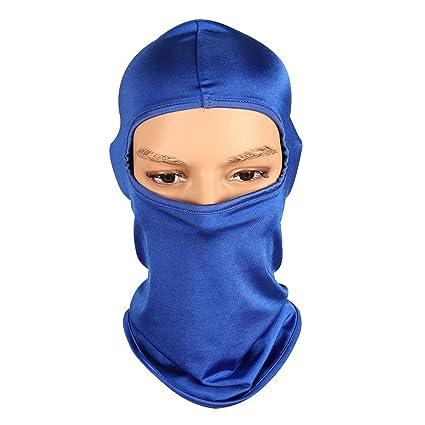 ThreeH Máscara facial completa para mujeres Hombre Pasamontañas Spandex Máscara de esquí elástica FM04,Blue