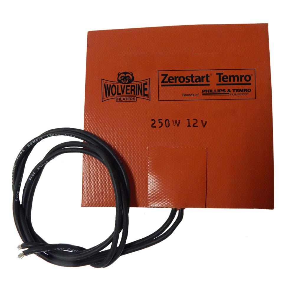 "Zerostart 3400053 Silicone Pad Small Reservoir and Hydraulic Fluid Heater, 5"" x 5"" | 12 Volts | 250 Watts"