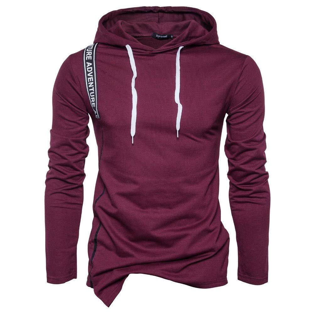 GoodLock Clearance!! Men's Fashion Pullover Hooded Tops Long Sleeve Solid Hoodie Sweatshirt Tee Outwear Blouse