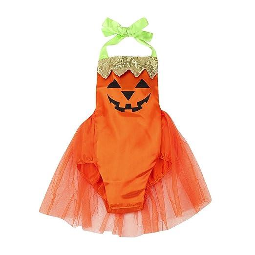 halloween romper dresses for baby girlsnewborn kids cute sequin pumpkin print halloween clothes sets