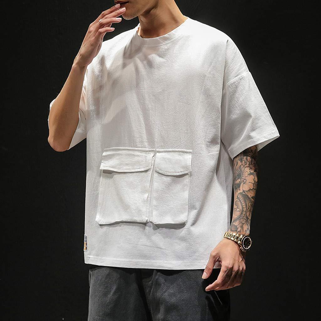 Darpane Mens Summer Tops Casual Pure Color Pocket O-Neck Short Sleeves Fashion Sports T-Shirts