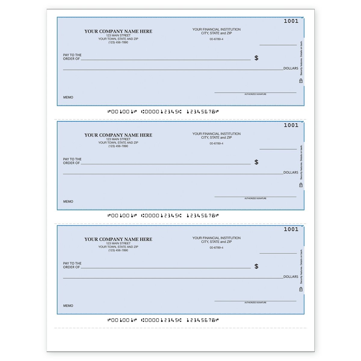 3-Per-Page Business Checks, Lined Checks - Use with Intuit QuickBooks Software (250 qty) - Custom