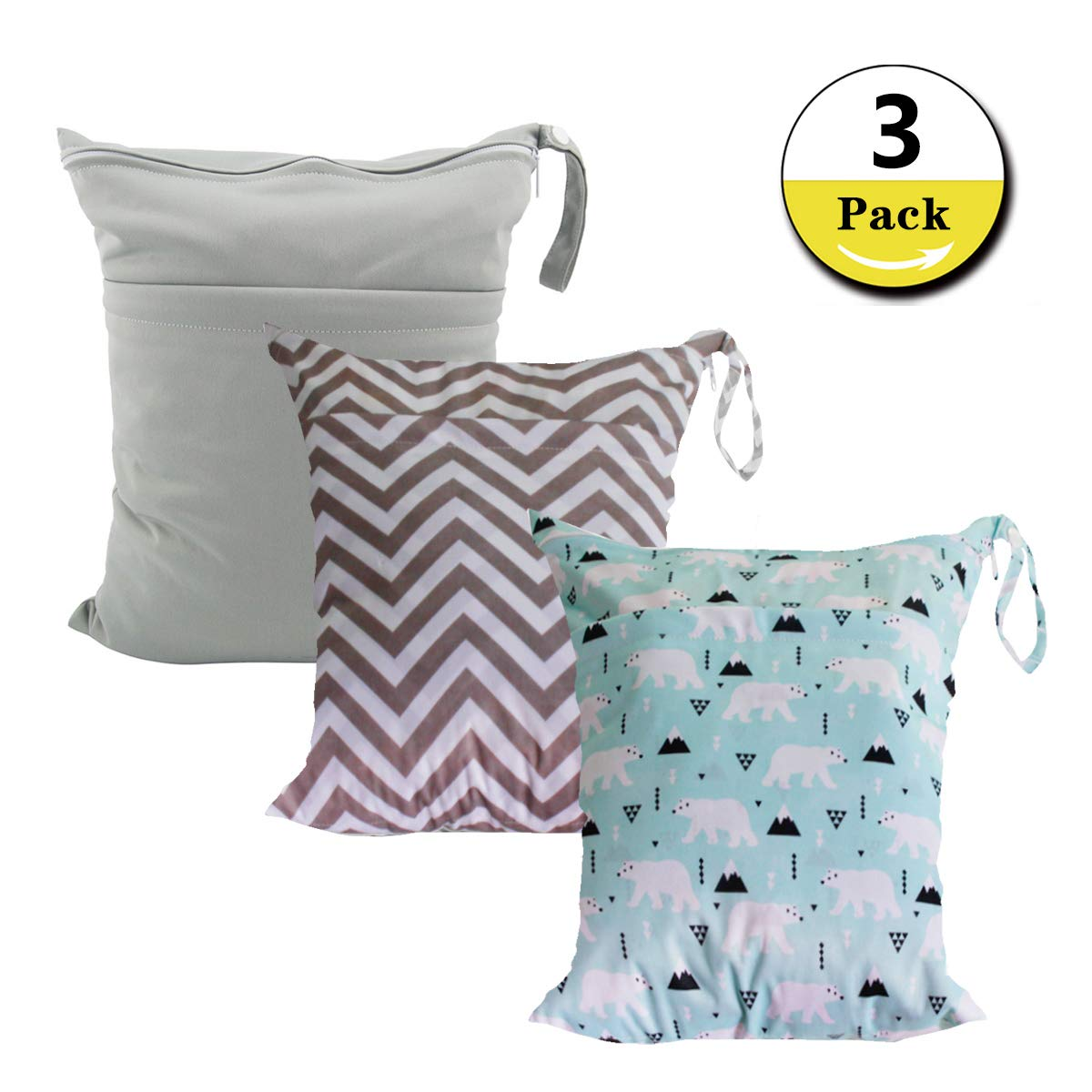3 Pack Reusable Cloth Disper Wet Bags Travel Wet and Dry Disper Pocket Bag,Waterproof with Two Zipped