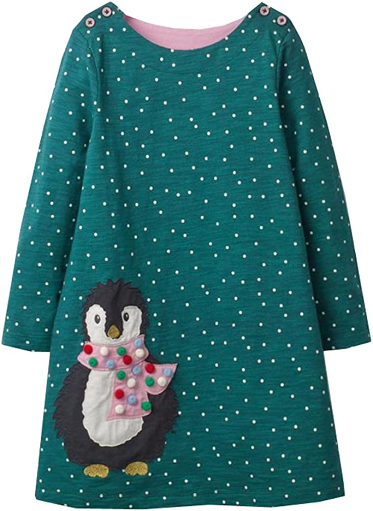 VIKITA Niñas Vestidos Algodón Animal Bordado Manga Larga Vestido para Niños