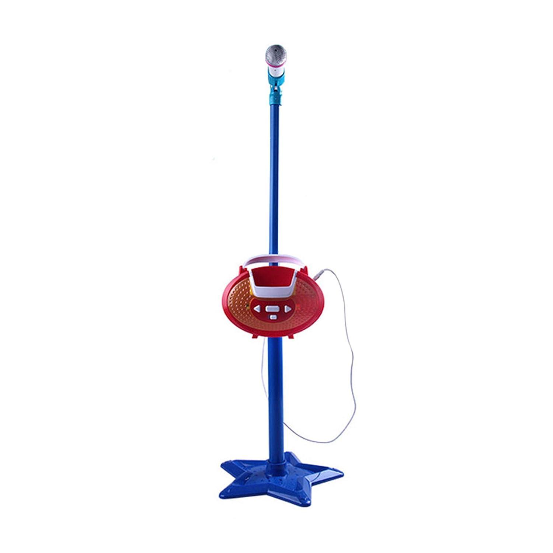 Happy Event Kinder Mädchen Mp3 Karaoke Mikrofon Einstellbarer Standlichtton (Blau)