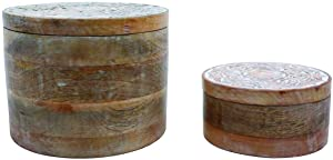 Foreside Home and Garden Set of 2 Natural Carved Whitewash Round Decorative Wood Storage Boxes, White, Brown
