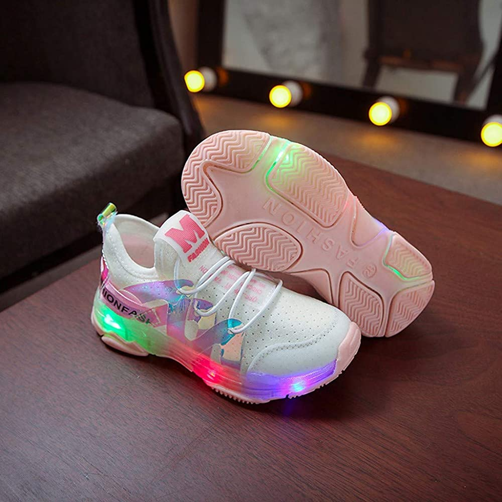 YJM 2018 Childrens Sneakers Luminous ,Toddler Baby Boys Girls Shoes Mesh Colorful LED Light Up Luminous Running Sneakers
