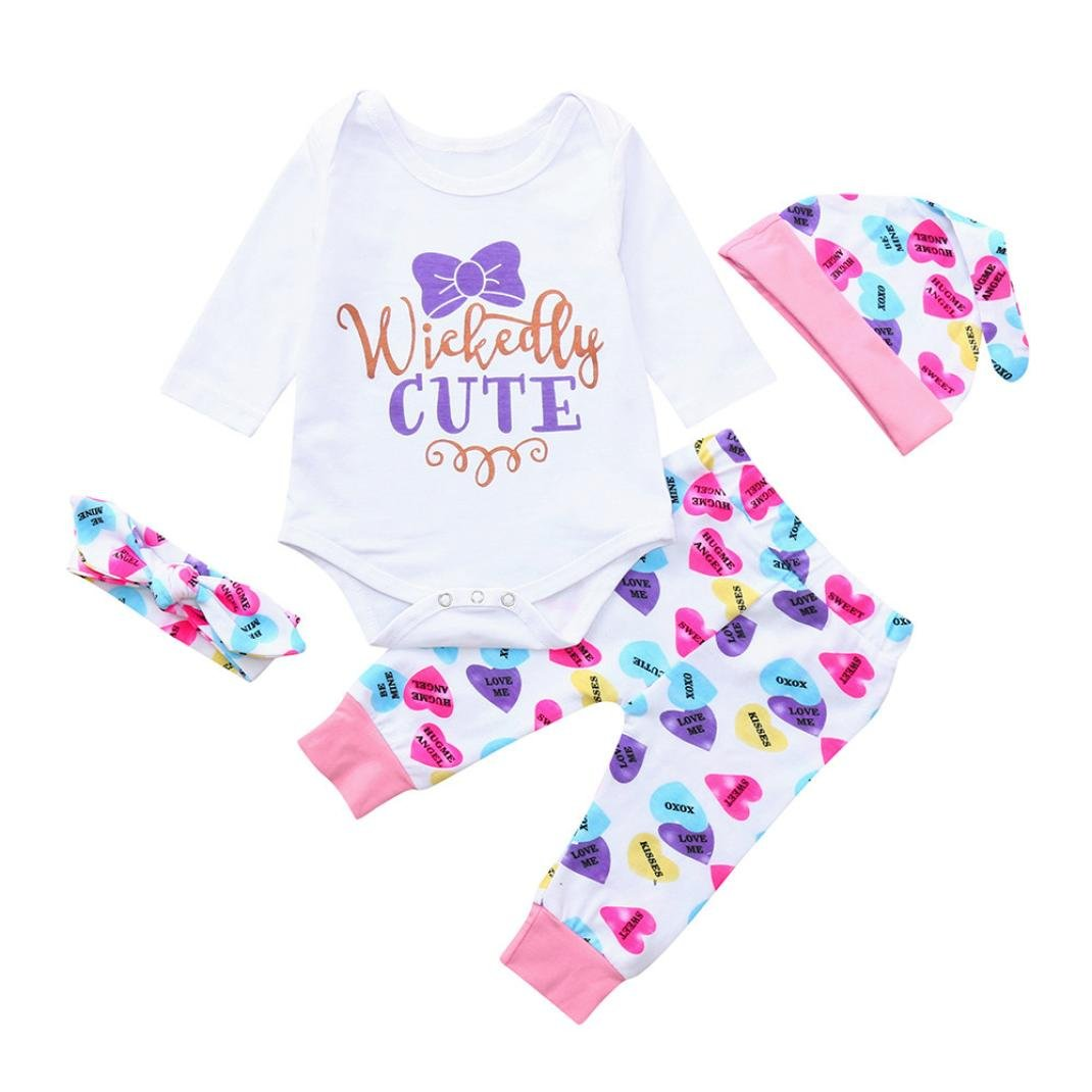Pollyhb Baby Boy Girl Clothes Set Newborn Baby Letter Long Sleeve Romper Top Pants Hat Headbands Outfits