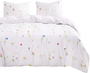 Wake In Cloud - Floral Comforter Set, Tiny Flowers Leaves Botanical Plant Pattern Printed on White, Soft Microfiber Bedding (3pcs, Queen Size)