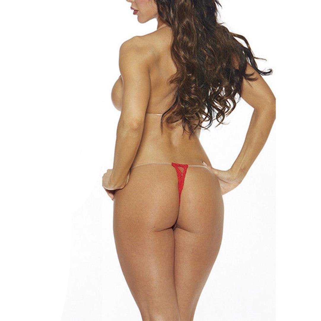 ef7421fd4e XILALU Women s Lace Plus Size Sexy Lingerie Bikini Backless Intimates G- String Thong Halter Bra Underwear Mini Set (XL