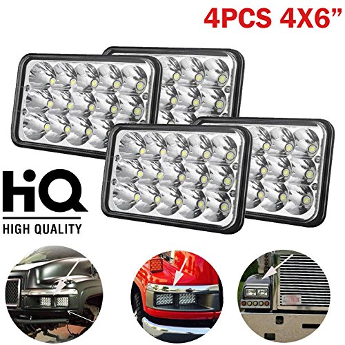 Sealed Beam Assembly - 4x6 LED Headlights for Truck 45W 6000K White Super Bright Hi/Lo Sealed Beam H4666 H4668 H6545 H4651 H4642 H4652 H4656 for Kenworth T800 T400 T600 W900B W900L US Stock 2 Year Warranty (Set of 4)