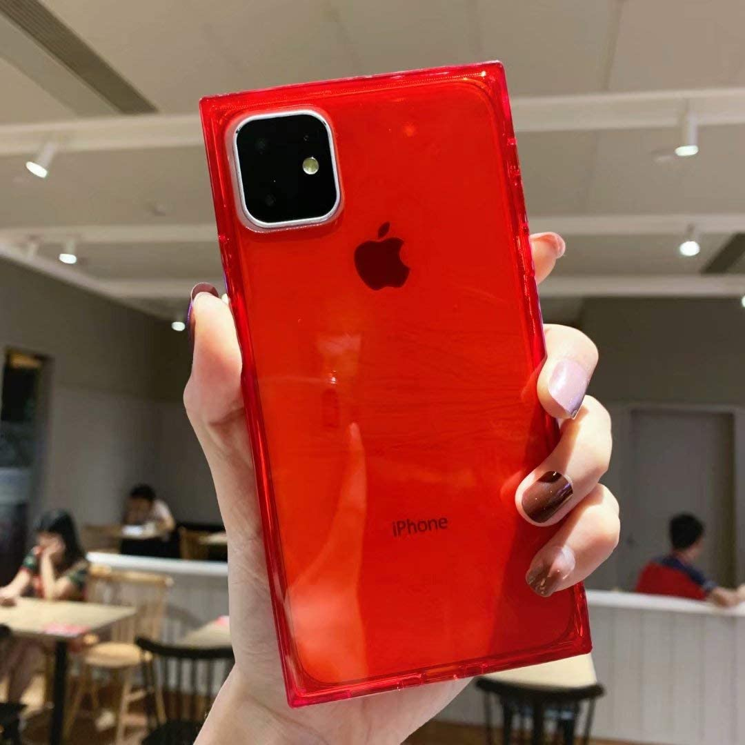 Tzomsze Square Case for iPhone 11, iPhone 11 Clear Cases Reinforced Corners TPU Cushion,Crystal Clear Slim Cover Shock Absorption TPU Silicone Shell for iPhone 11 6.1 inch (2019)-Red