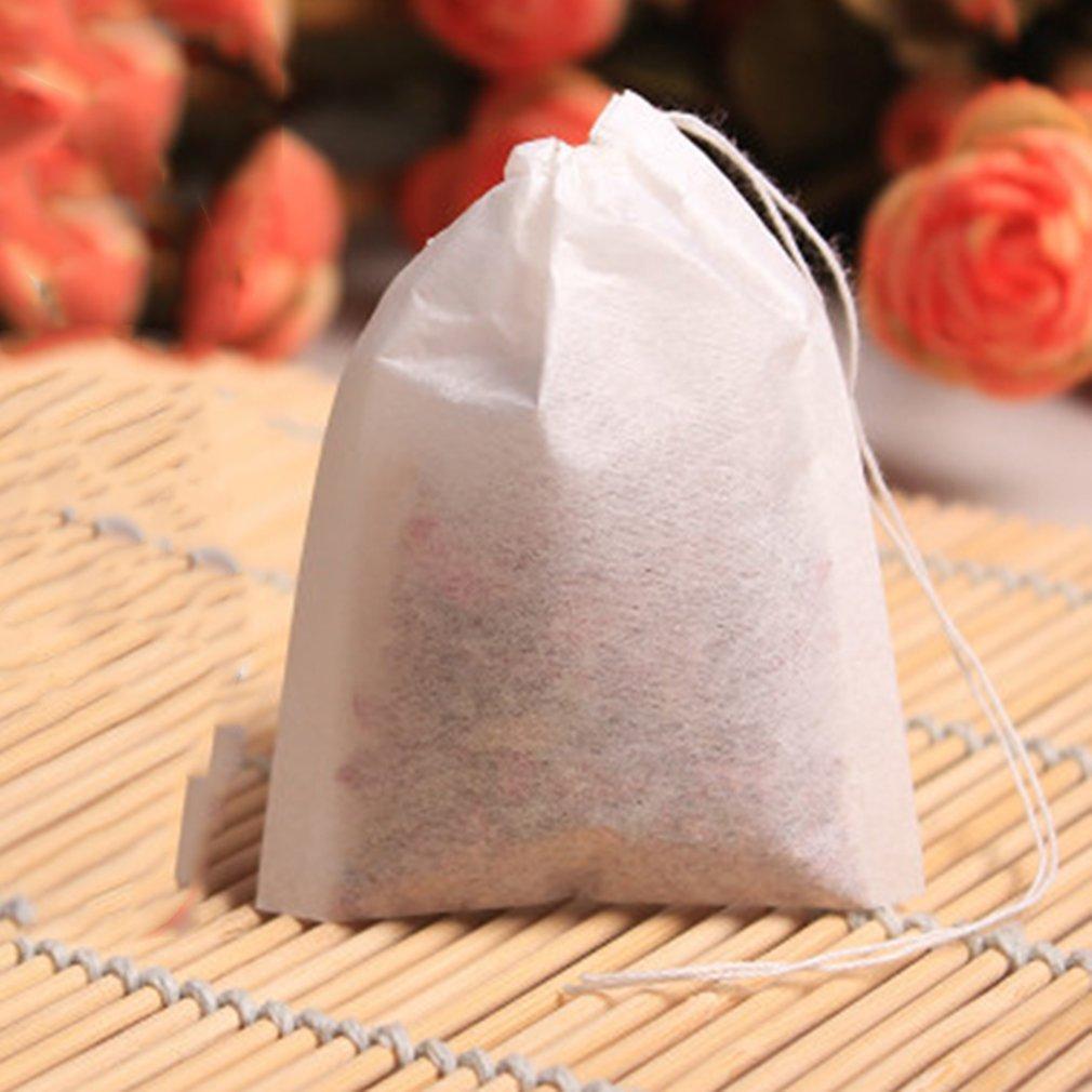 FairytaleMM 100 unids/Lote Bolsas de té vacías Cadena de Sellado térmico Papel de Filtro Hierba Bolsitas de té Sueltas Bolsas de té para el hogar y Necesidades de Viaje, Blanco