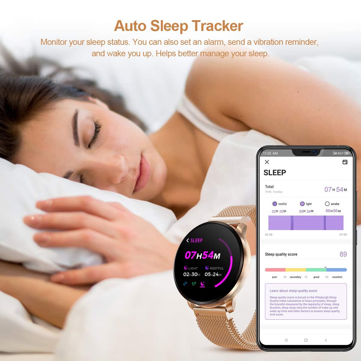 GOKOO smartklocka för män kvinnor med hjärtfrekvens blodtryck full pekskärm stoppur sömnmonitor vattentät kaloriräknare Guld