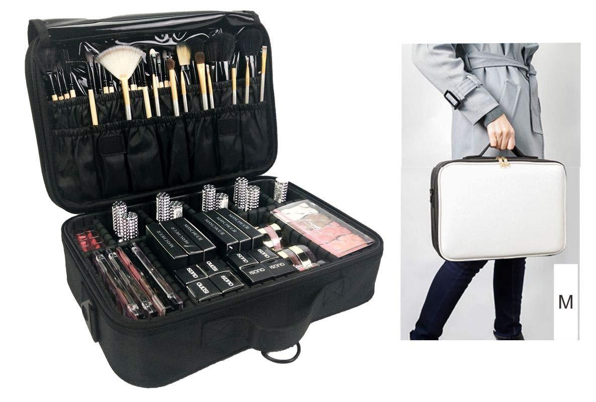 PENGKE Makeup Case Travel Makeup Bag Train Case Professional Portable Cosmetic Makeup Brushes Organizer Case Cosmetic Artist Storage Bag for Women Adjustable Dividers 14.6''x10.2''x4.3'',Pack of 1