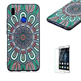 Funyye Relief Rubber Case for Huawei P Smart Plus,Stylish Mandala Pattern Soft Silicone TPU Gel Cover for Huawei Nova 3i,Slim Fit Shockproof Non Slip Back Cover Smart Shell Protective Case for Huawei P Smart Plus/Nova 3i + 1 x Free Screen Protector