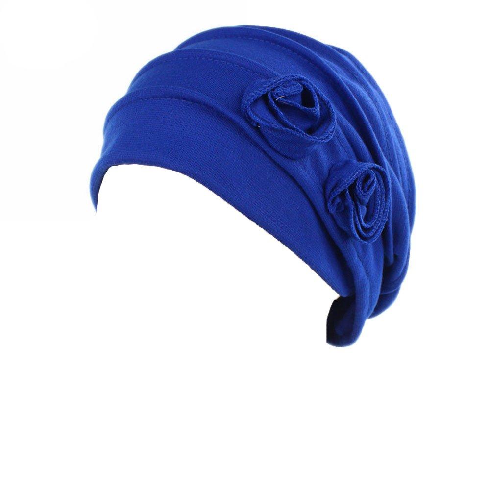 Ever Fairy 3 Farben Packung Chemotherapie Krebs Kopf Schal Hut Kappe ethnisch Stoff Aufdruck Turban Kopfbedeckung Damen Stretch Blume Muslime Kopftuch 2 Colors TJM-238A