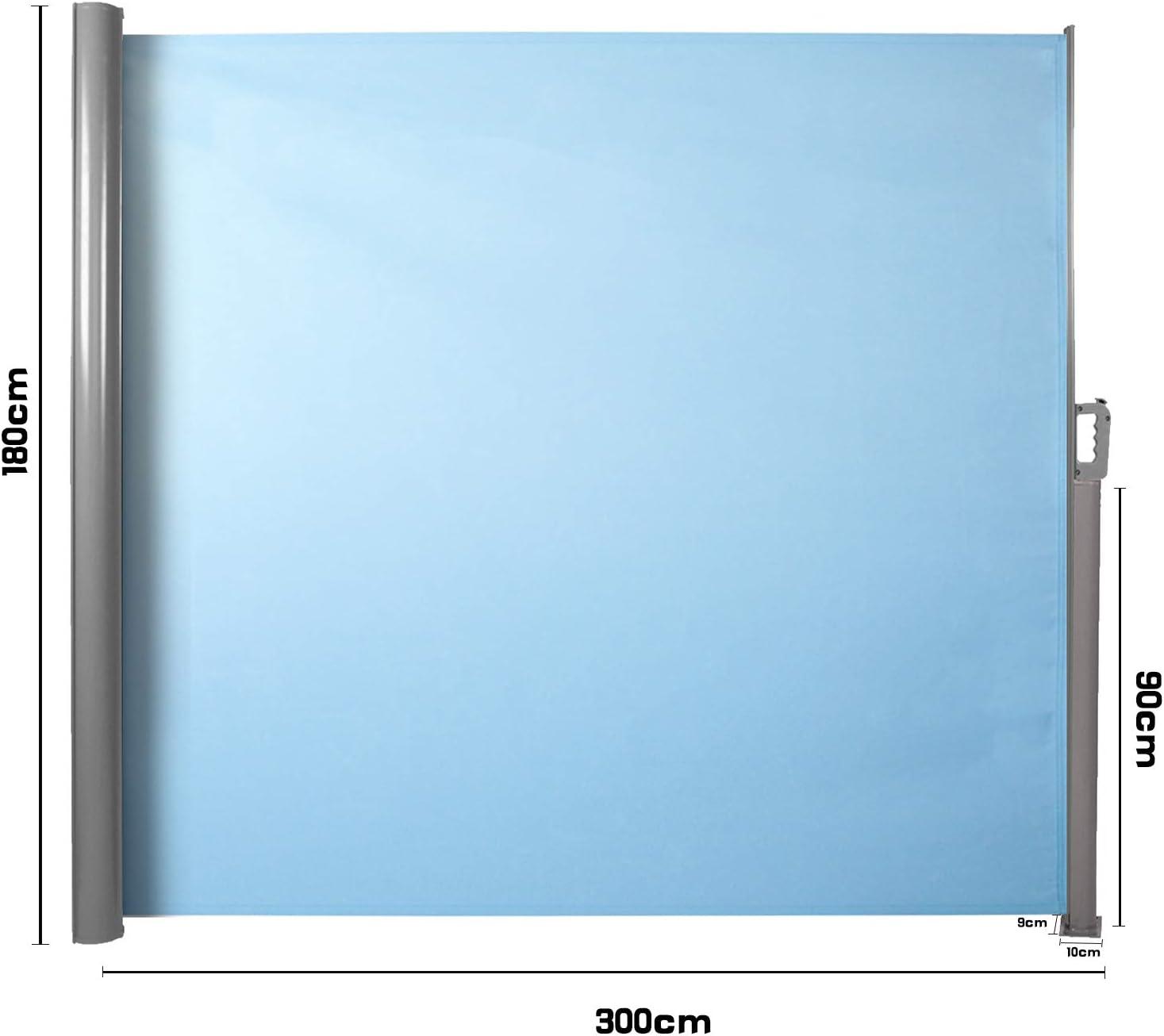 Protezione da Sole da Giardino Tendalino per Patio Terrazzo CCLIFE Tenda da Sole Laterale Alluminio Tenda Paravento per Esterno Dimensione:180x300cm Colore:Azzurro