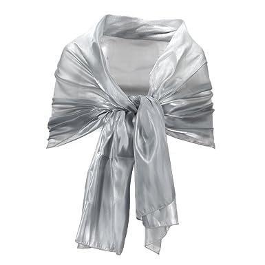 bbda68bb2af Echarpe Foulard soie femme Cheche chale silk 190cm gris soiree mariage   Amazon.fr  Vêtements et accessoires