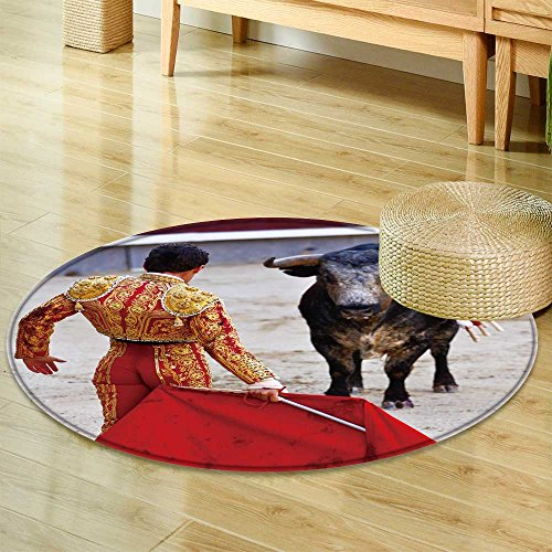 Small round rug Carpet traditional corrida bullfighting in spain bulfighting has been prohibited in  door mat indoors Bathroom Mats  Non Slip -Round 24'' by PRUNUSHOME