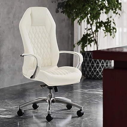 Amazon Com Modern Ergonomic Sterling Genuine Leather Executive Chair With Aluminum Base Cream Furniture Decor