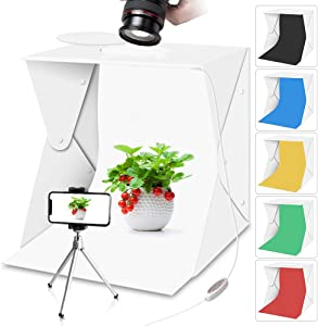 Portable Photo Studio Light Box with Lights for Product Food Photography, Aureday Mini Photo White Box & Flash Lightbox with 6 Colors Backups, Shooting Tent with Mini Tripod