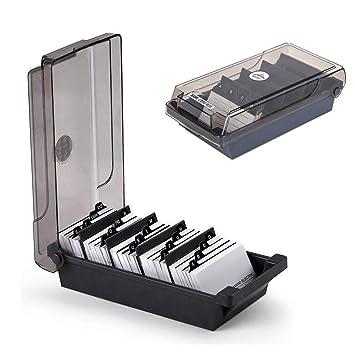 SUNSHINETEK Caja para tarjetas de visita Caja de 500 tarjetas Tarjeta de visita para escritorio Caja de tarjeta Organizador Con 4 Tablas divisoras y ...