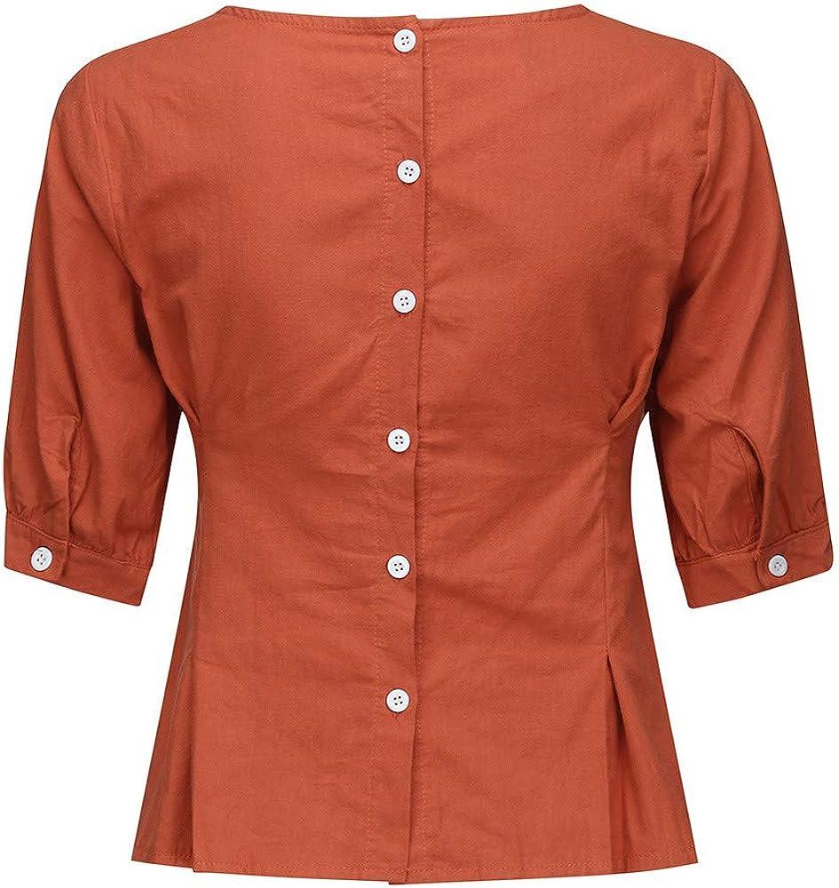Camiseta de Mujer, Moda Mujeres O Cuello Media Manga Casual Algodón Lino Camiseta Suelta Blusa Camisas Tops Moda Solida Blouse Camiseta Suelto Básicade para Oficina: Amazon.es: Ropa y accesorios