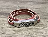 Handmade Pink Leather Bracelet for Fitbit Flex 2 Tracker Adjustable Size 7 inches Replacement Accessory Band with Silver Jewelry Housing