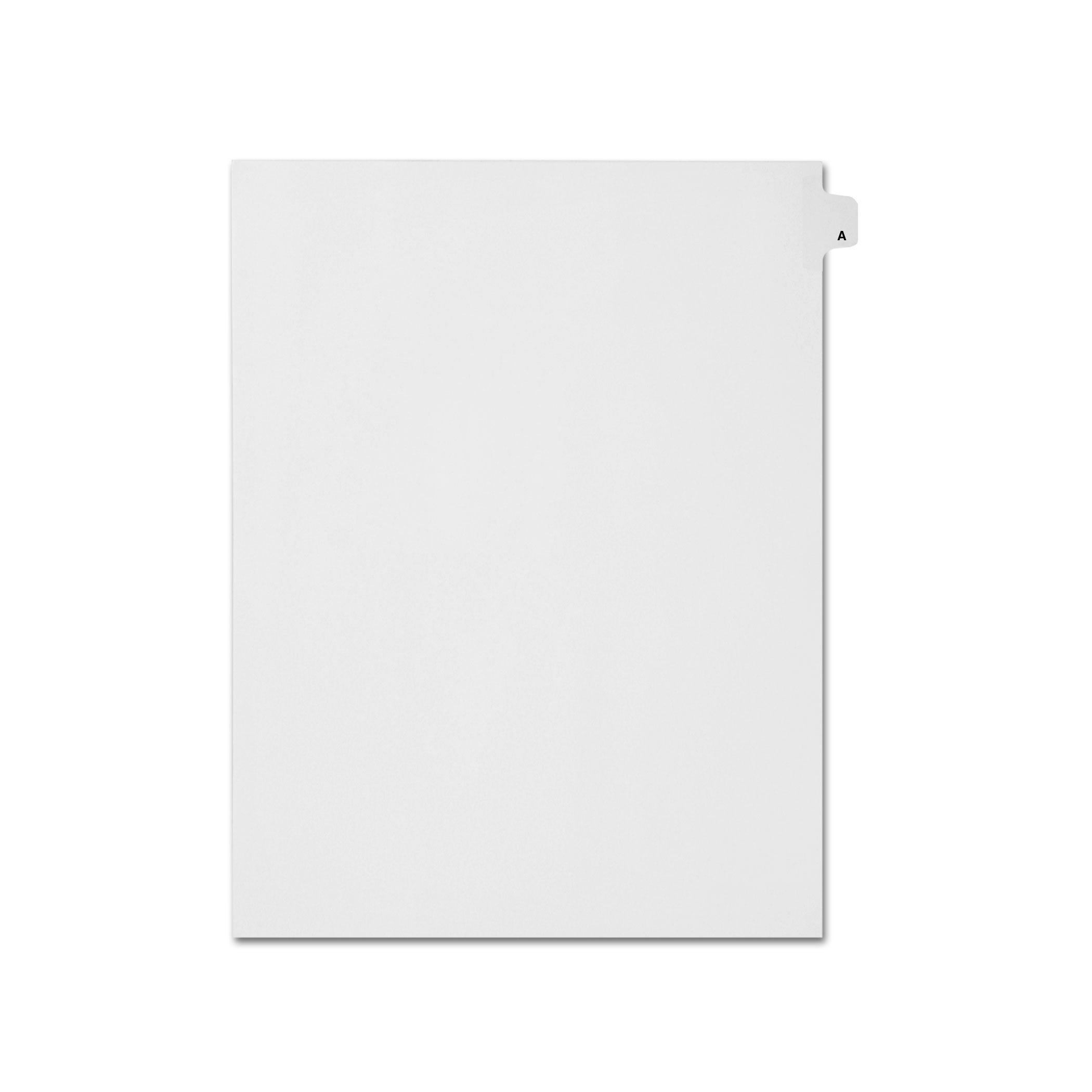 AMZfiling Individual Legal Index Tab Dividers, Compatible with Avery- Printed A, Letter Size, White, Side Tabs, Position 1 (25 Sheets/pkg)
