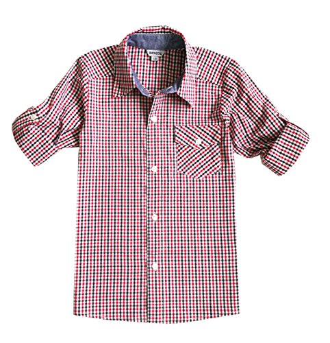 - Bienzoe Boy's Cotton Check Roll Up Button Down Sports Shirts, Red,13/14