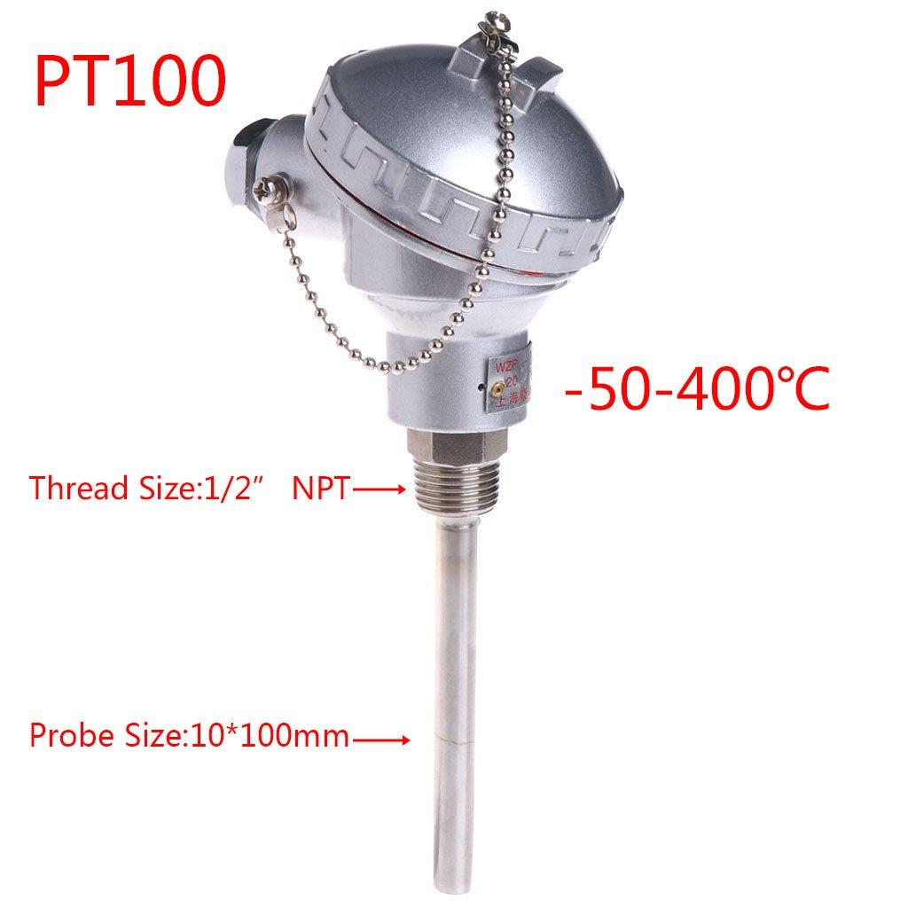 Hukai RTD PT100 Temperature Sensor 4'' Probe 1/2'' NPT Thread Thermocouple Terminal Head