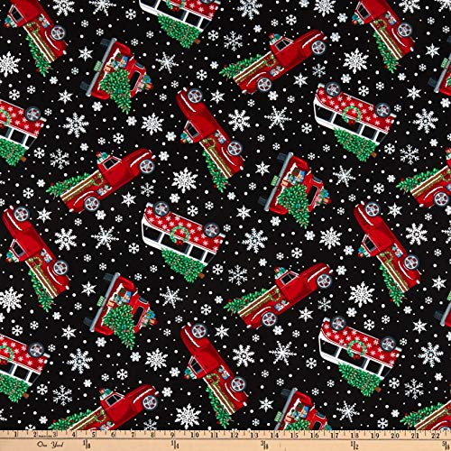 Timeless Treasures Let It Snow Tossed Red Christmas Trucks Black, Fabric by the - Christmas Red Fabric