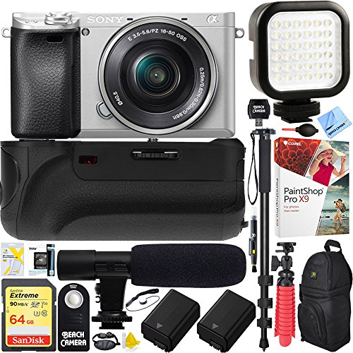 Sony a6300 4K Mirrorless Camera with 16-50mm Power Zoom Lens Silver (ILCE6300L/S) – 64GB Battery Grip & Shotgun Mic Pro Video Bundle