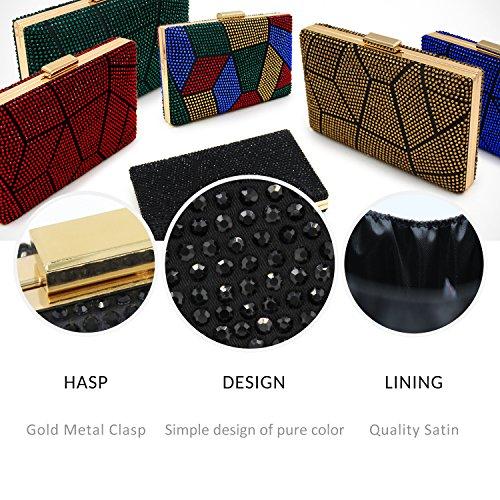 Evening Crystal Clutches Handbags Clutch Wedding Bags Party Purse Black Women ECqx51E
