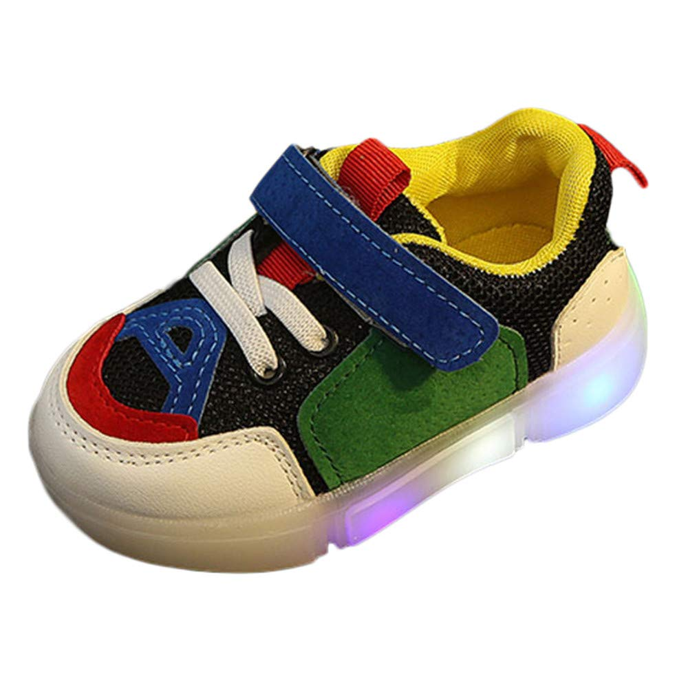Voberry@ Kids Mesh Outdoor Breathable Sneakers Baby Toddler Girls Boys Light LED Luminous Shoes