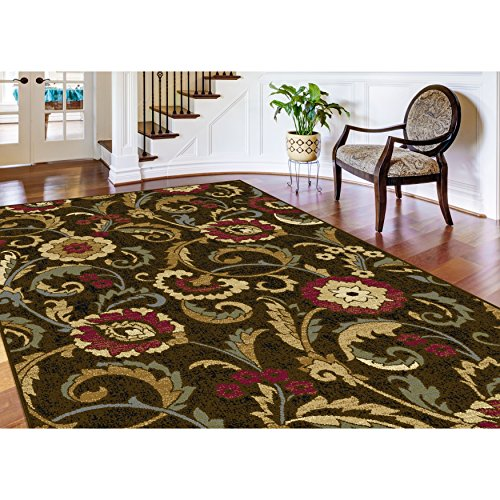 Bright Floral Medallions Vines Patterned Area Rug, Exotic Leafs Blossoming Flowers Themed, Rectangle Indoor Living Area Bedroom Entryway Carpet, Bold Nature Lovers Modern Style, Green Size 7'6 x 9'10 (Floral Vines Rectangle Rug)
