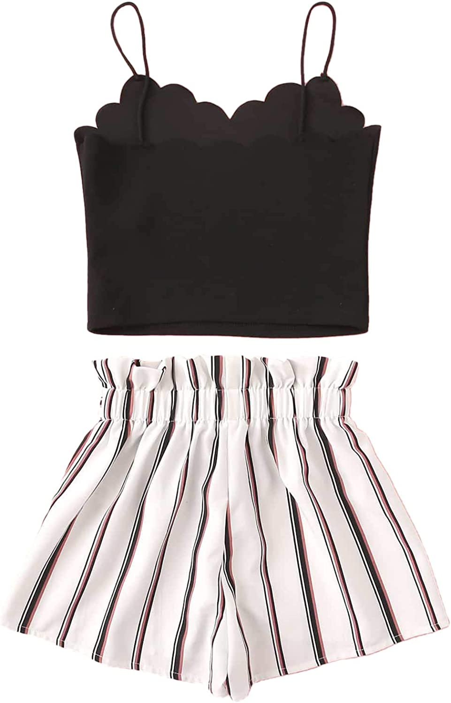 Romwe Girls Cute 2PC Scallop Trim Cami Top /& Paperbag Waist Belted Shorts Summer Set