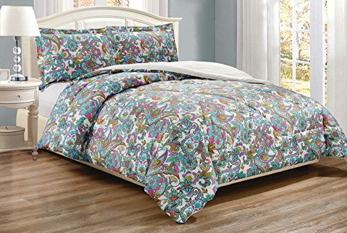 3-Piece Fine printed Comforter Set Reversible Goose Down Alternative Bedding FULL / QUEEN (Turquoise Blue, Multi-Color, Paisley) (Paisley Comforter Queen)